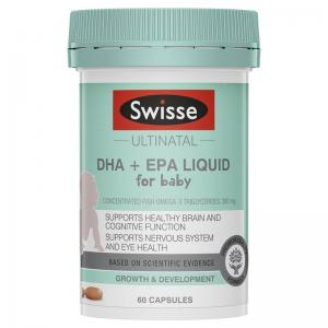 婴幼儿DHA+EPA鱼油软胶囊 Swisse UN DHA + EPA Liq For Baby 60 Caps
