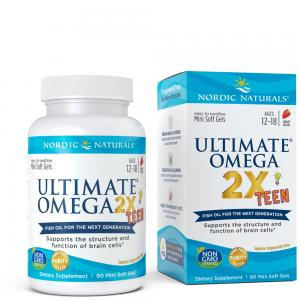 挪威小鱼 青少年终极Omega鱼油 双倍版Nordic Naturals Ultimate Omega-2x Teen - Omega 3 Formula for Teenagers 60c